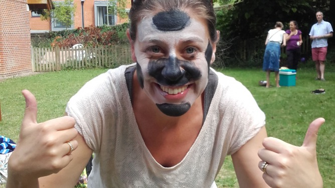 Diagrama adoption social worker Heidi with her face painted at the annual summer picnic in Winchester